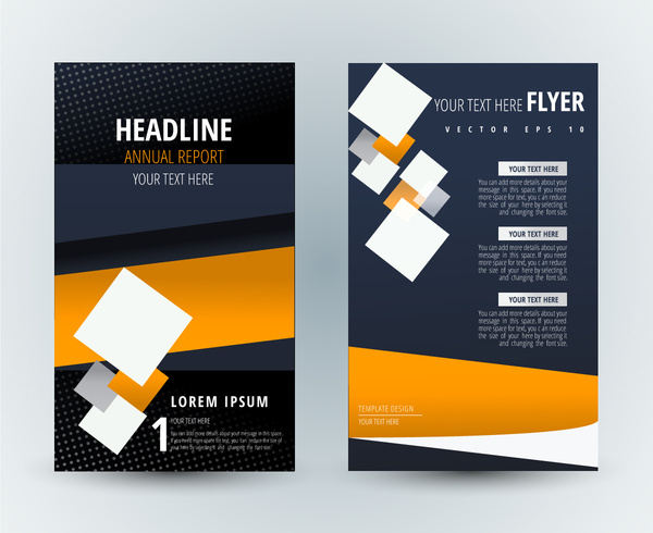 flyer template design with modern background and squares free vector