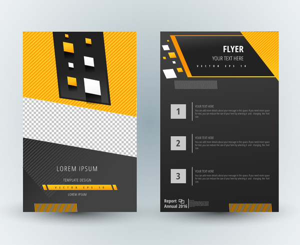 Flyer Template Design With Modern Dark Background Free Vector In