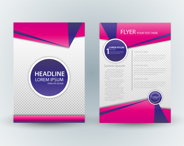 flyer template design with pink and spots background free vector in