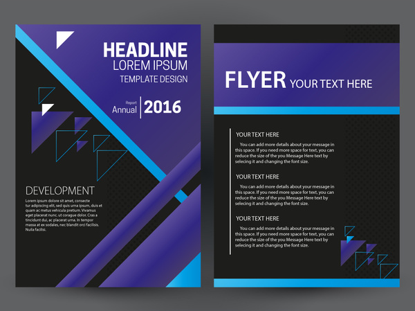 Flyer Template Design With Purple And Black Color Free Vector In