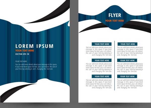 flyer template design with white and blue background