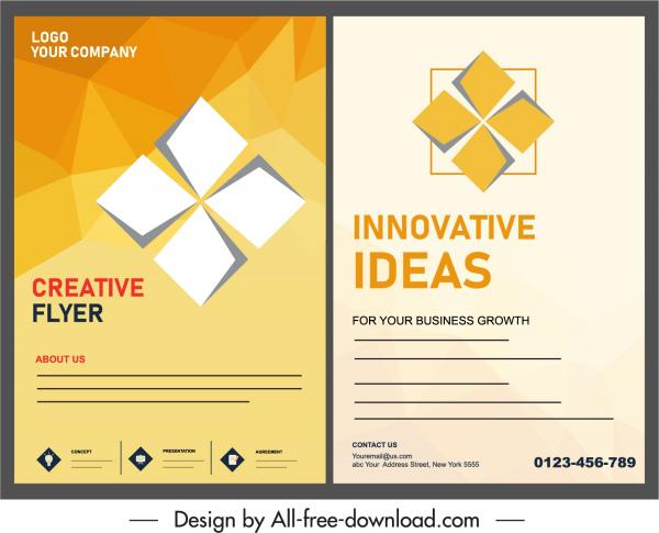 flyer template geometric petal decor bright yellow white