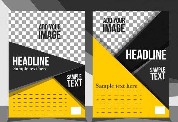 flyer template modern triangles decor checkered ornament