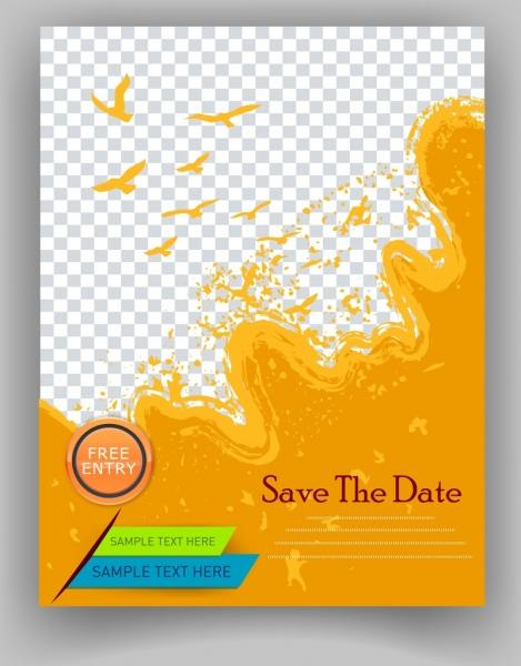 Flyer Template Orange Splashing Bird Silhouette Checkered Background - Save the date flyer template free