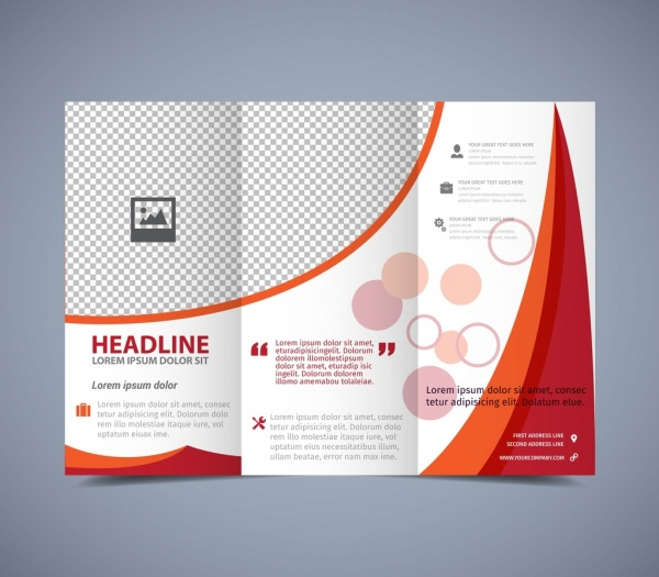 flyer template trifold design red curves checkered pattern