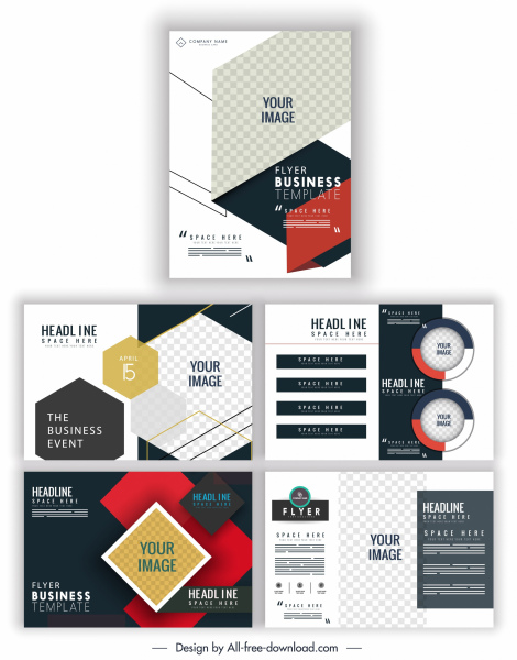 flyer templates modern checkered geometric decor