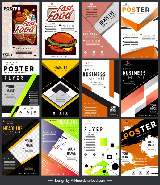 flyers templates colorful classical modern decor