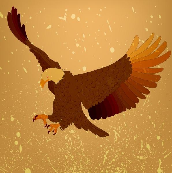 flying eagle background yellow grunge decoration