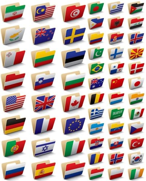 folder icon 60 national flag vector