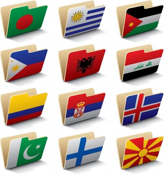 folder icons nations flags decor 3d design