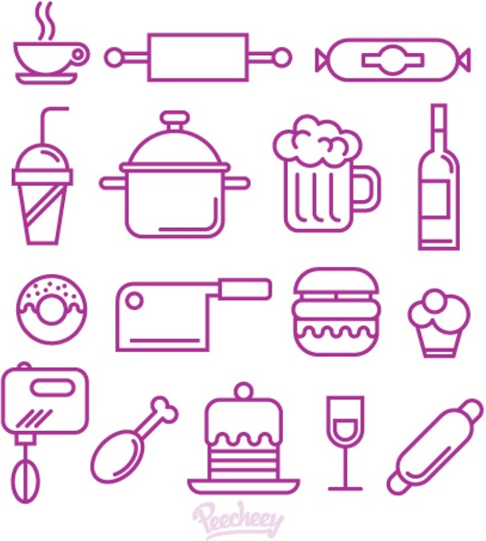 food and kitchen supplies icon set