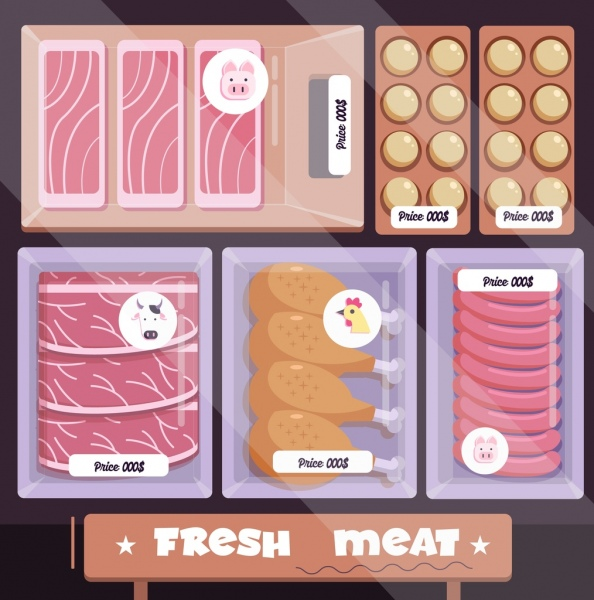 food background meat trays display icon colored flat