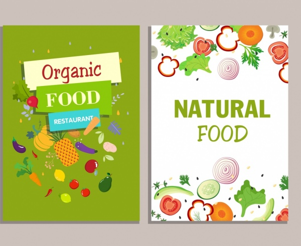 food background sets vegetables food icons colorful design