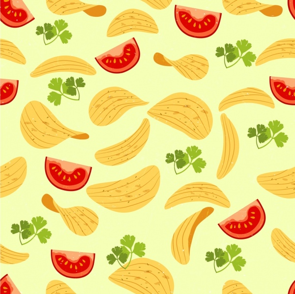 food background tomato chips icons multicolored repeating design