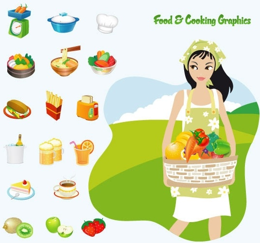 food cooking vector illustration with country girl