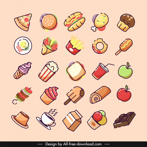 food icons collection colorful classical design