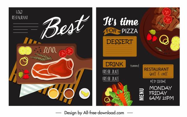food menu cover template dark colorful elegant classic
