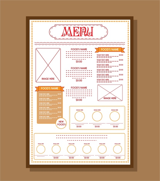 Food Menu Template Red Texts On White Background Free Vector In - Adobe illustrator menu template