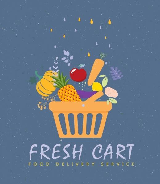 Food service banner vegetable cart icons flat design Free