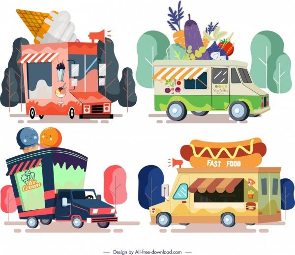 food truck icons multicolored cartoon design