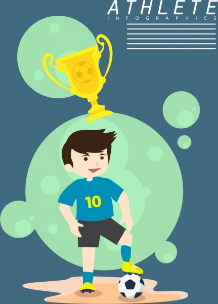 football banner player trophy balls icons decoration