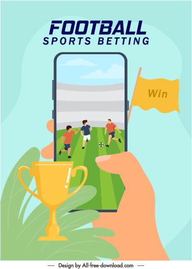 football game advertising banner smartphone match cup sketch