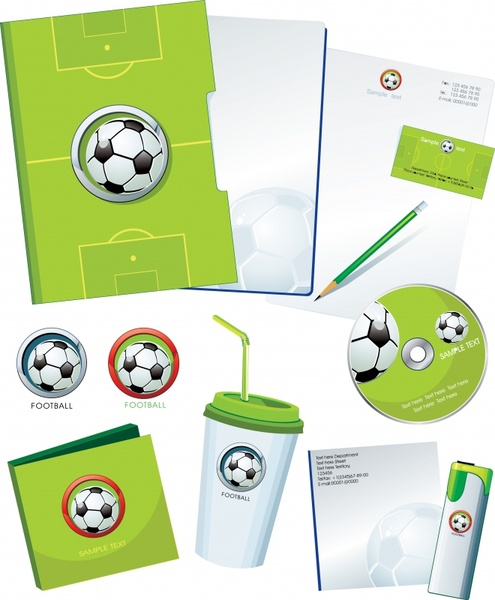 brand identity sets football theme green ground ball