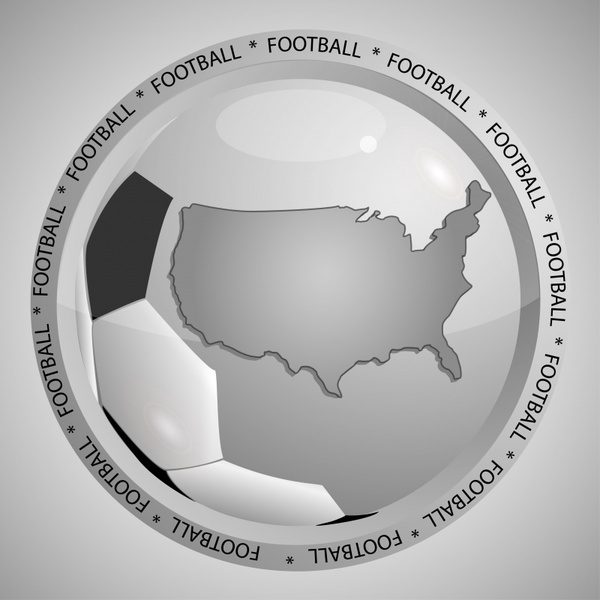 football logo template shiny black white map sketch