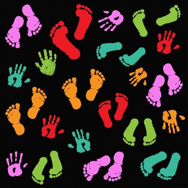 footprints fingerprints background dark colorful decor