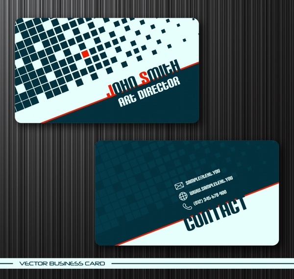 business card templates modern flat checkered squares decor