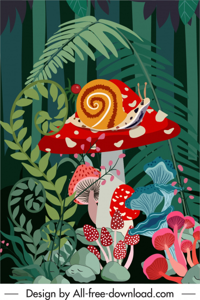 forest background mushroom snail trees sketch colorful classic