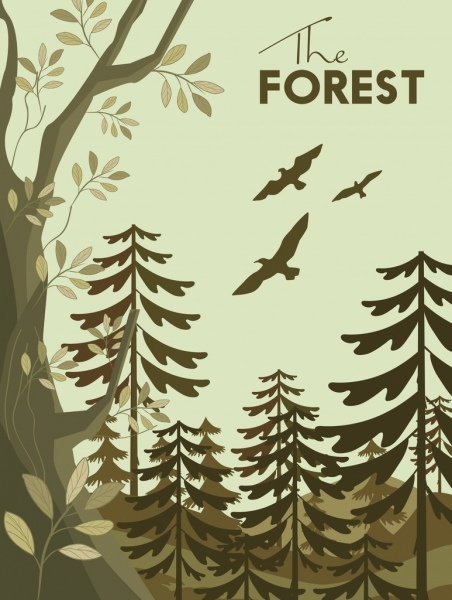 forest background trees birds icons decoration classical design