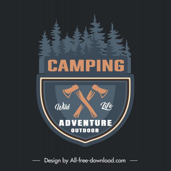 forest camping logotype dark retro flat sketch