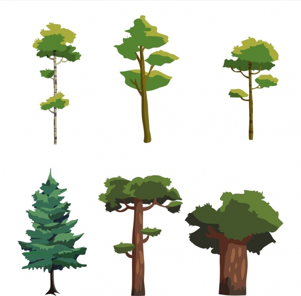 forest design elements green tree icons isolation
