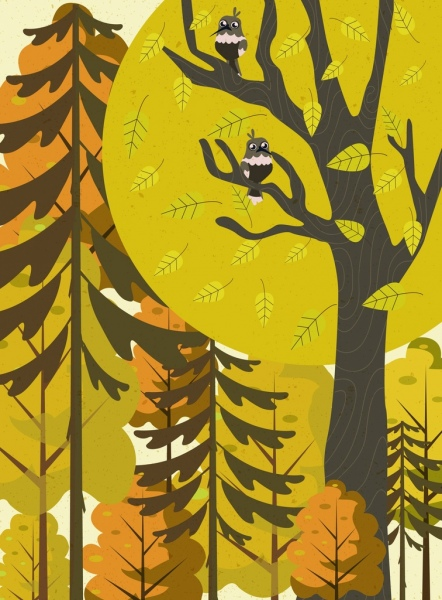 forest drawing tree birds icons colored classical design