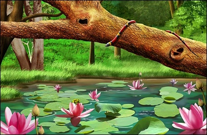forest of lotus pool psd layered