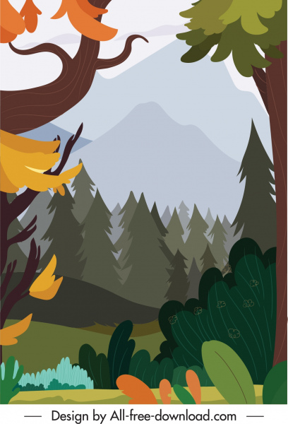 forest scene background colorful flat classic sketch