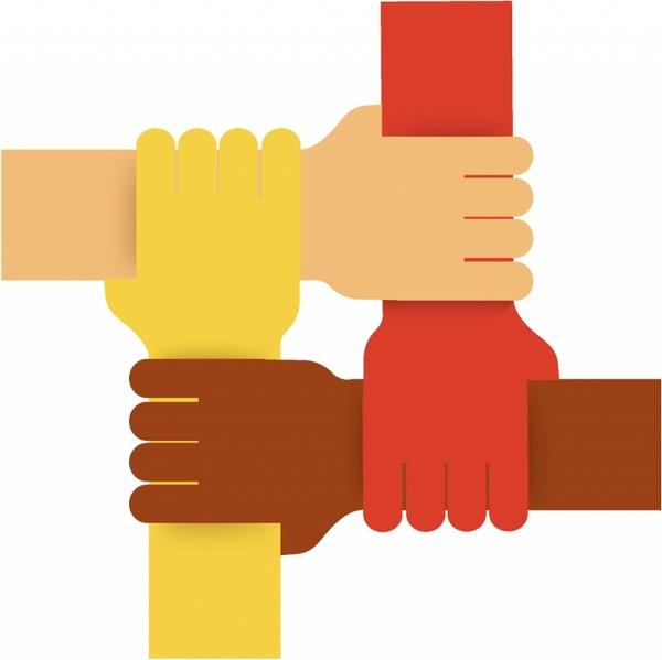 Four colours teamwork hands