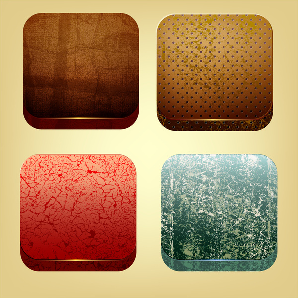 four sets of square ecologic pattern icons