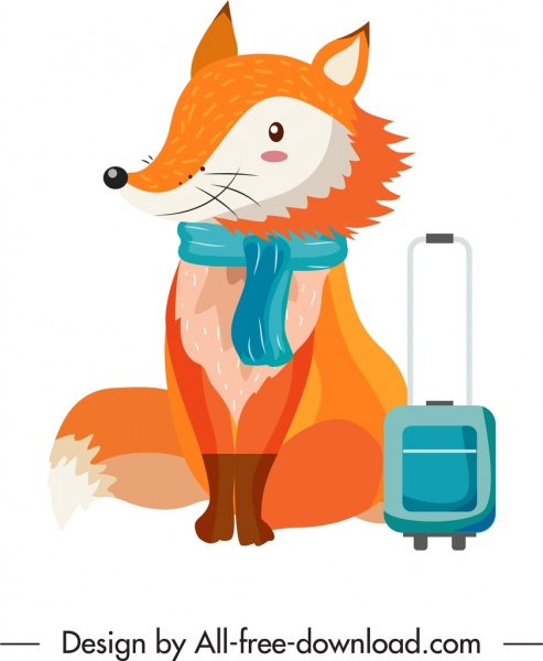 fox animal icon travel theme stylized cartoon character