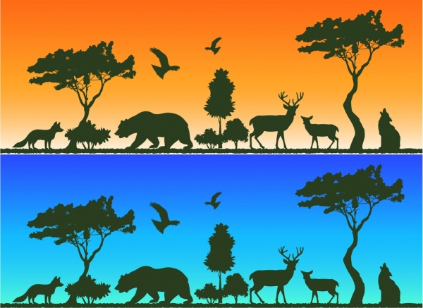 fox bear reindeers birds icons decoration silhouettes design