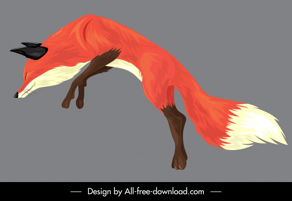 Fox painting jumping gesture colored classical sketch Free