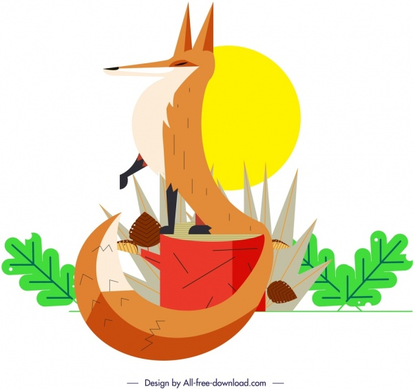 fox wild animal painting colorful classical design