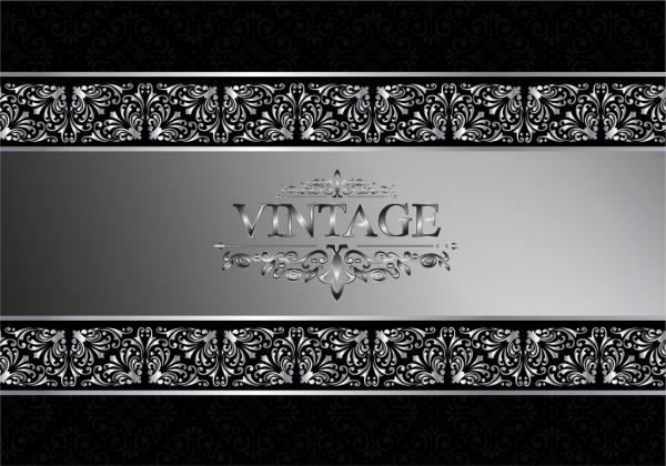 frame decoration template silver pattern design vintage style