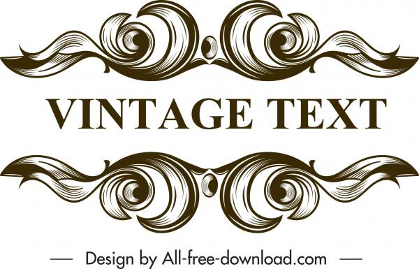 frame design elements elegant vintage symmetrical curves sketch