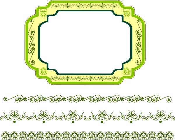 frame design rounded style and border pattern collection
