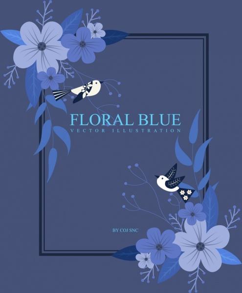 frame template blue flowers birds icons decor