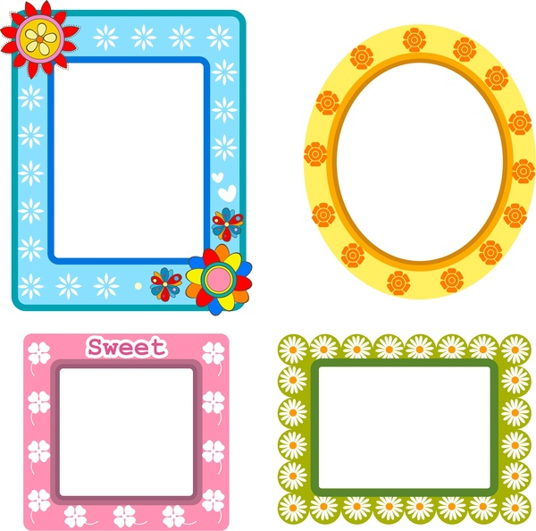 Frames design collection various shapes with flowers style Free ...