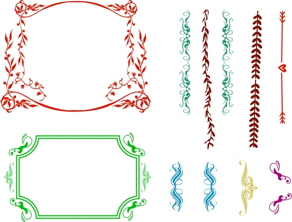frames design sets and classical border collection free vector in