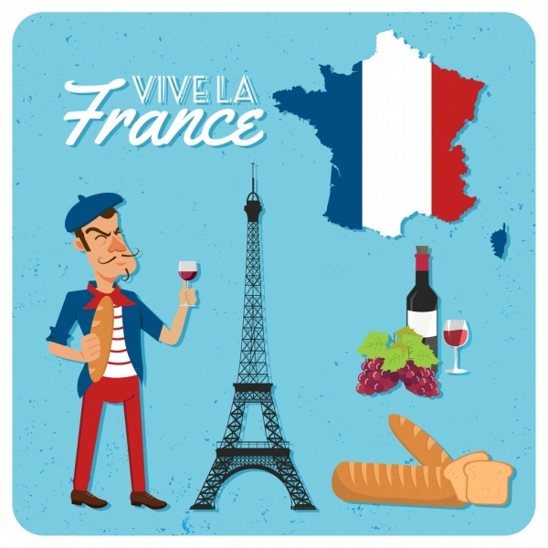 france advertising banner flag wine bread tower icons